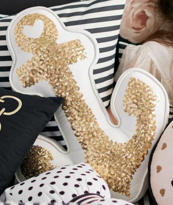 Gold Anchor Pillow