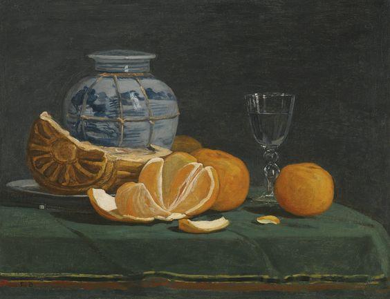 Eugène Boudin - Still Life with an Opened Orange (Nature morte à l'orange ouverte) [c.1853-56] | [Sotheby's, New York - Oil on canvas, 35.9 x 46.5 cm]