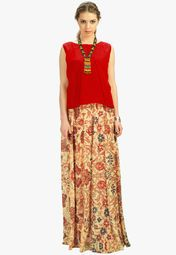 Admyrin Red Solid Kurti With Flared Skirt Online Shopping Store