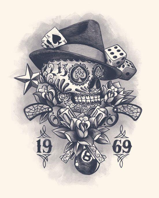 muerte skull gun vintage flower rose dice web 8 ball tattoo design @Carl Lindgren Thomp