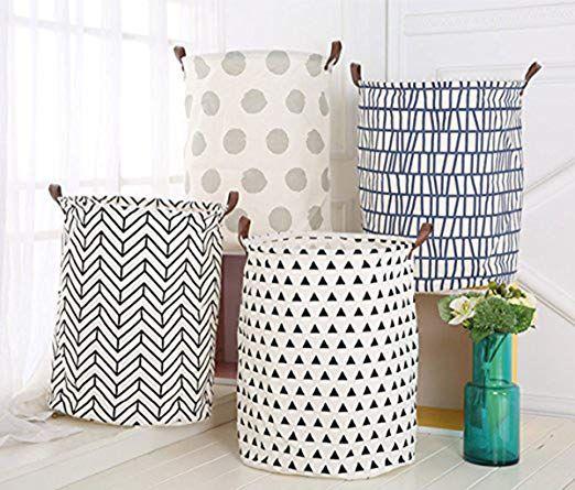 Amazon Com Hiyagon Large Sized Canvas Storage Baskets With