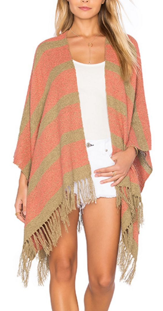 Open Front Peach and Beige Poncho