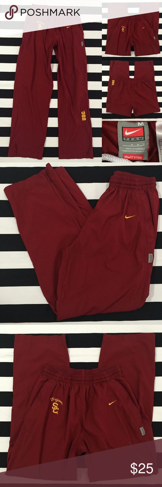 "[Nike] ""USC"" athletic pants szM [Nike] ""USC"" athletic pants szM •listing •good used condition •University of Southern California Trojans •size medium (these seem to be unisex, slightly baggy style, waistband can be folded over •pants are dark red/burgundy with yellow detail •length/inseam 30"" •2 front side zipper pockets •zippers at bottom of pant legs •elastic drawstring waistband •See other Nike and athletic listings in my closet Nike Pants Track Pants & Joggers"