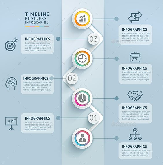 Business Timeline Infographics Template   Timeline, Dots and Business