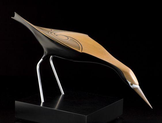White-Faced Heron by Rex Homan, Māori artist (KR80203):