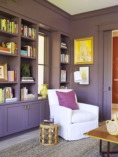 Daring bookshelves! // bookshelves, built-ins: Bookshelves Ideas, Purple Room, Wall Colour, Bookshelves Built, Built In, Bookshelves Bookshelves, Wall Color, Living Room