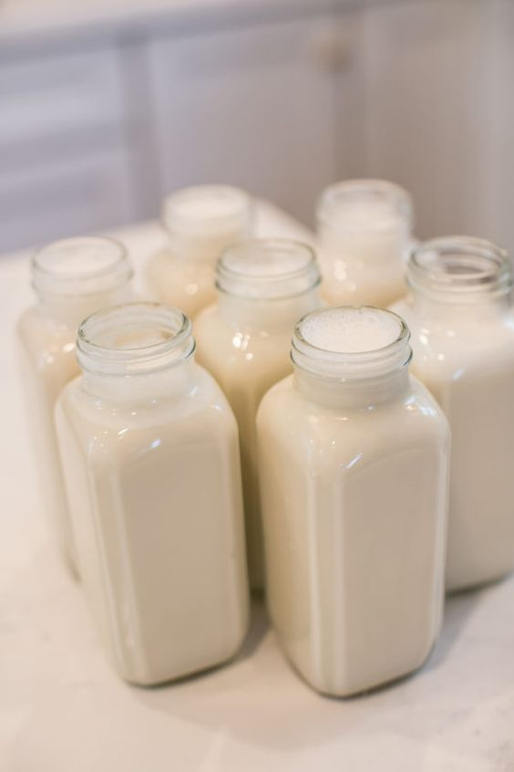 Homemade vanilla almond milk, sweetened with dates.