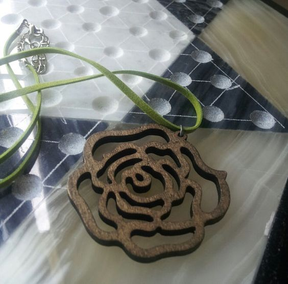 Wood Rose Pendant on Green Faux Suede by Stars2Beads on Etsy, $6.50