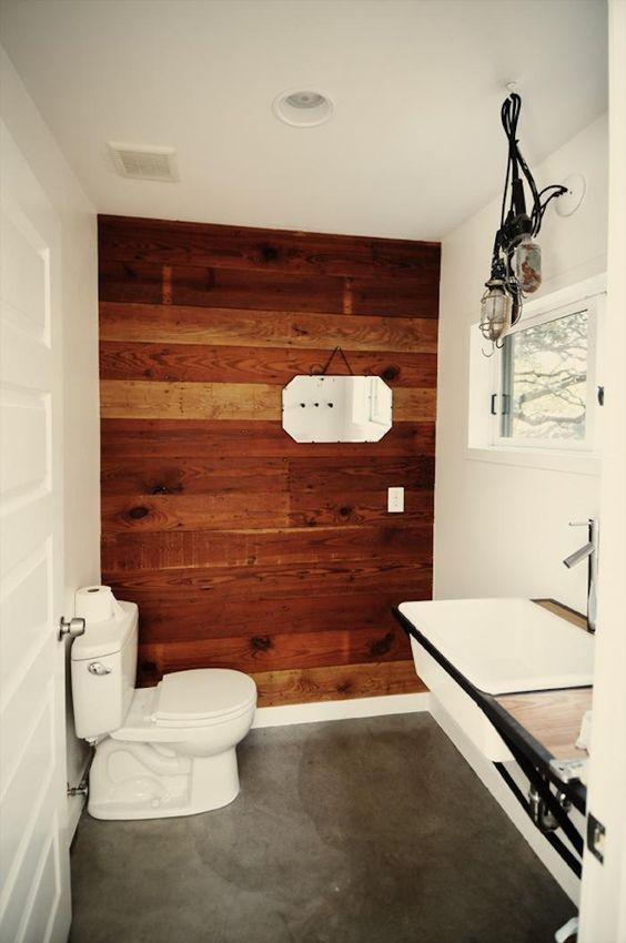 original bathroom wood feature wall house