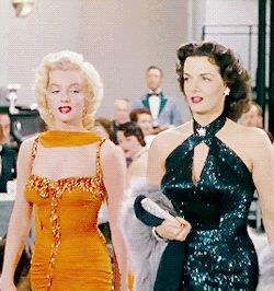 Marilyn Monroe and Jane Russell in Gentlemen Prefer Blondes. Read all about this classic here: http://www.classichollywoodcentral.com/gentlemen-prefer-blondes-1953/