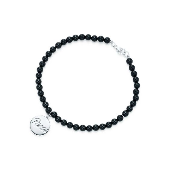 Palomas Graffiti peace tag in sterling silver on an onyx bead bracelet, medium Tiffany & Co.