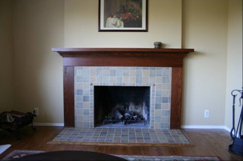 This was a remodel on a floor to ceiling brick fireplace - Floor to ceiling brick fireplace makeover ...