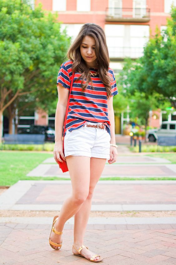 Red white and navy preppy summer outfit for the fourth of july.: