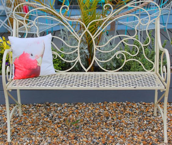 Cream Butterfly Bench
