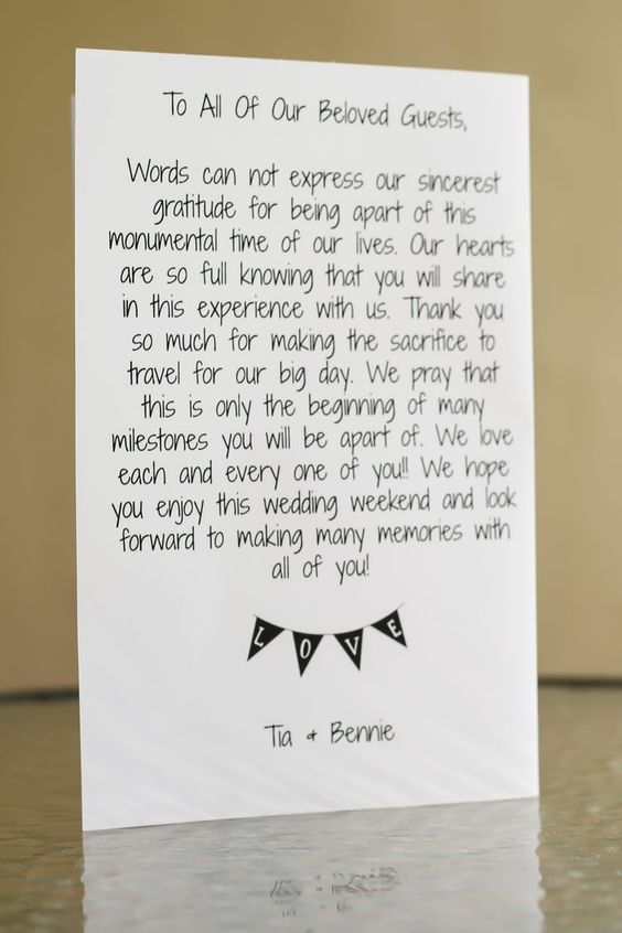 Thank You Gifts For Destination Wedding Guests : Letter for destination wedding welcome bag