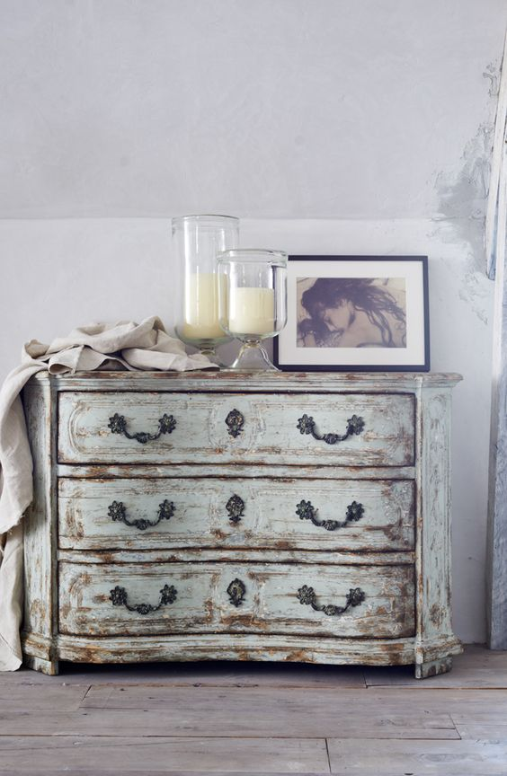 The RLH Collection's distressed pine and walnut chest of drawers is inspired by a late-18th-century design from northern Italy. Ralph Lauren Home