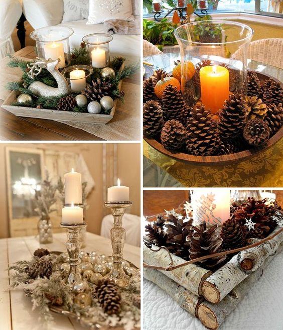 pinhas na decoração de natal - mesa                                                                                                                                                                                 Mais:
