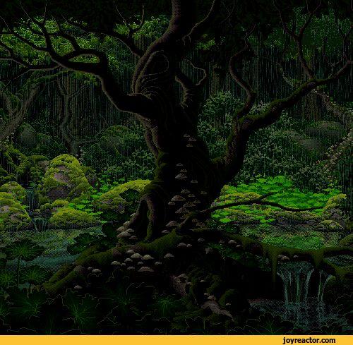 pixel art forest