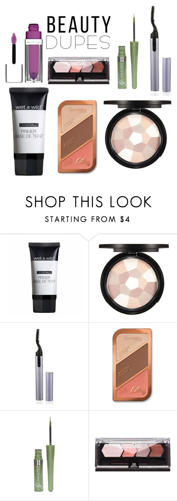 """""""Sans titre #1084"""" by vubaotramanh ❤ liked on Polyvore featuring beauty, Wet n Wild, Rimmel, Maybelline and beautydupes"""