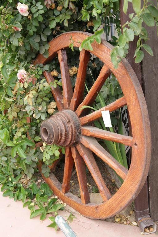 Antique Oak Wagon Wheel - restored