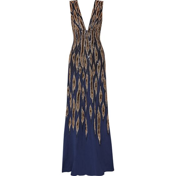 Issa Embellished silk-crepe gown ($1,248) ❤ liked on Polyvore featuring dresses, gowns, long dress, storm blue, blue gown, blue sequin gown, sequin ball gown, sequin evening gowns and beaded evening gowns