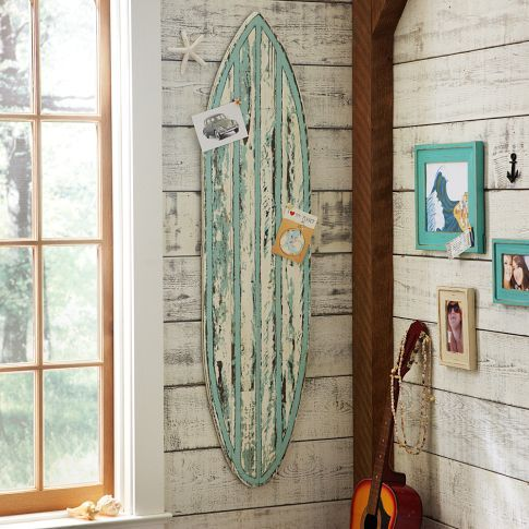 Love the rustic surf board. Pottery Barn Teens.
