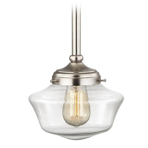Schoolhouse Pendant Light Clear Glass Satin Nickel In 2020 Lighting Pendant Lighting Clear Glass