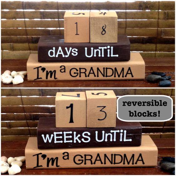 COUNTDOWN TO BABY reversible wood blocks for the new grandma!