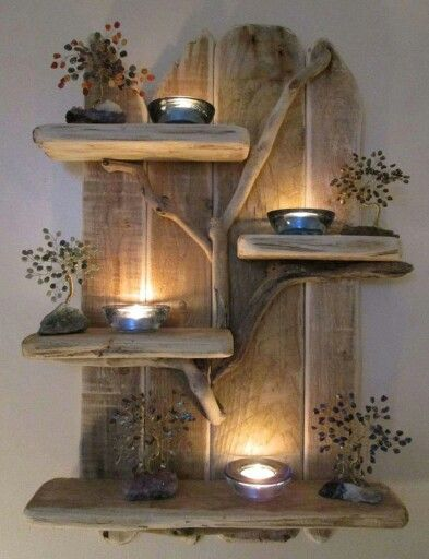 Beautiful driftwood shelf and ties on pinterest - Wooden art mobili ...