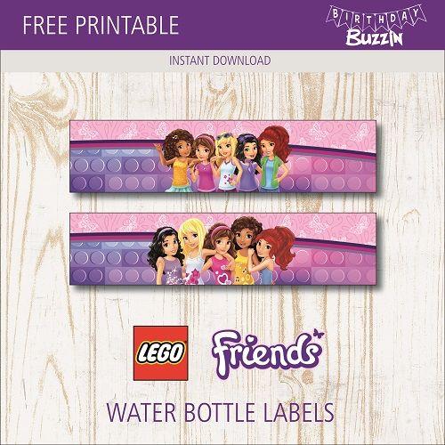 Free Printable Lego Friends Water Bottle Labels Birthday Buzzin Lego Friends Party Lego Friends Birthday Lego Friends