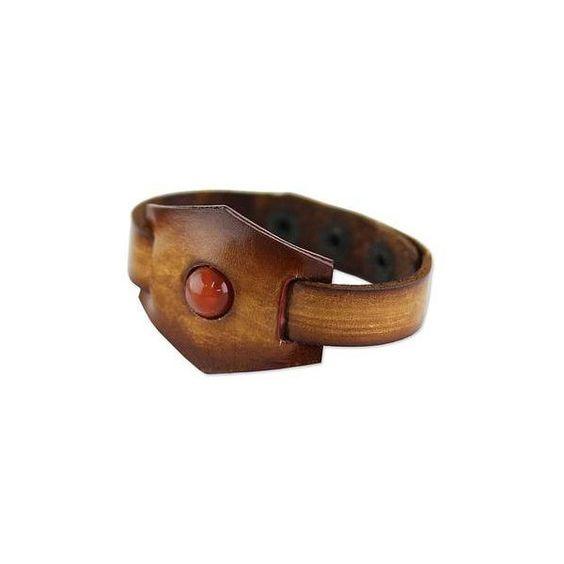 NOVICA Leather and Carnelian Adjustable Snap Bracelet ($18) ❤ liked on Polyvore featuring jewelry, bracelets, brown, toplevelcatbracelets, novica, hand crafted jewelry, adjustable bangle, brown jewelry and carnelian jewelry
