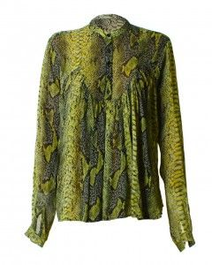 LOVE GREEN ANIMAL PRINT SMOCK TOP