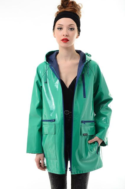 electricskinny Vtg 80s Members Only VINYL Raincoat Hooded PVC