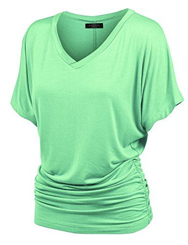 MBJ V Neck Short Sleeve Dolman Top with Side Shirring MINT Made By Johnny