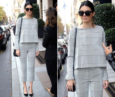 Kendall Jenner looks chic in all-over houndstooth in Paris