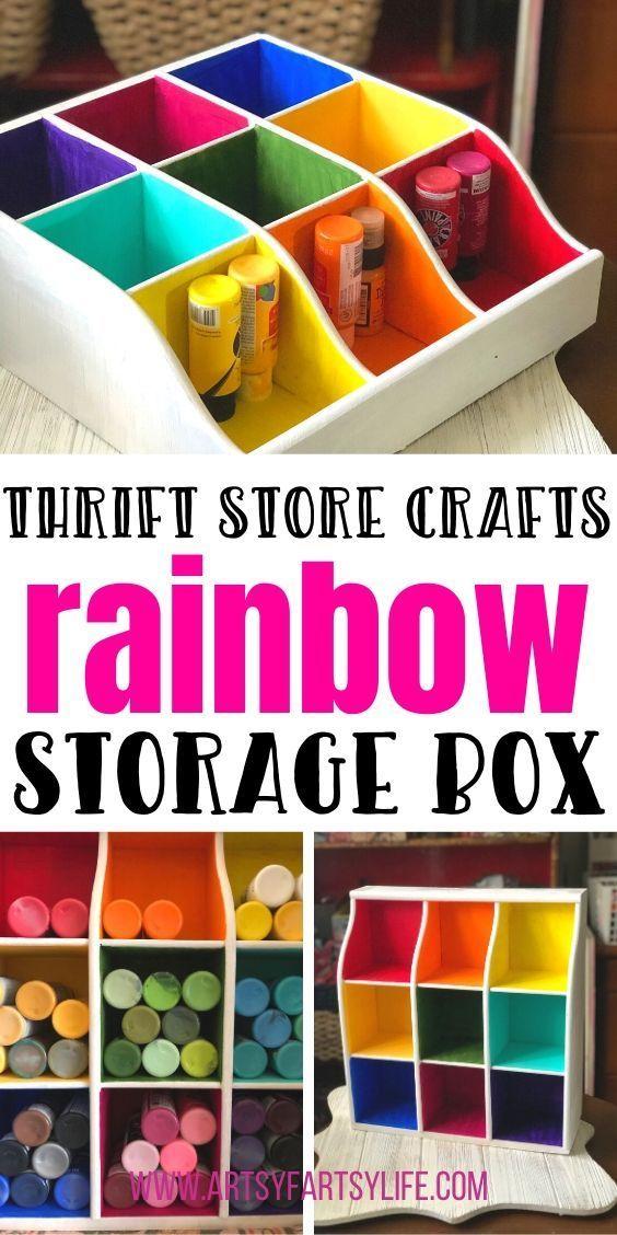 Thrift Store Crafts Rainbow Storage Box In 2020 Thrift Store Crafts Paint Storage Diy Craft Paint Storage