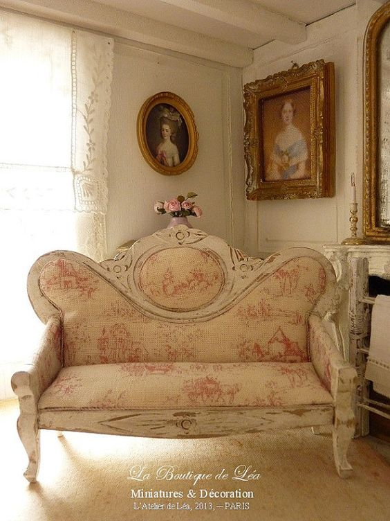 Sofa Napol On Iii Toile De Jouy Rose Mobilier Pour