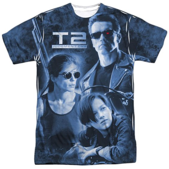 TERMINATOR II/PROTECTOR AND HUNTER-S/S ADULT POLY CREW-WHITE