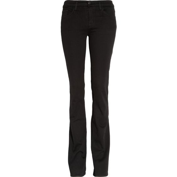 J Brand 818 Power Stretch mid-rise bootcut jeans (290 BRL) ❤ liked on Polyvore featuring jeans, black, mid rise boot cut jeans, stretchy jeans, petite bootcut jeans, petite jeans and bootcut jeans