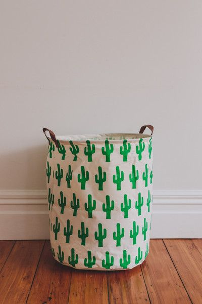 Canvas Storage Bag Cactus Print
