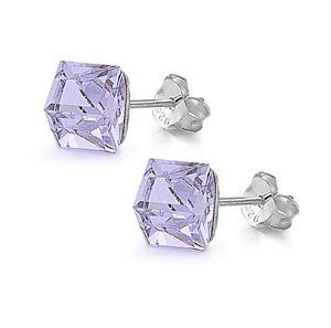 925 Sterling Silver CZ Simulated Crystal Cube Stud 4MM Lavender JewelryBadger-$7.90 http://www.amazon.com