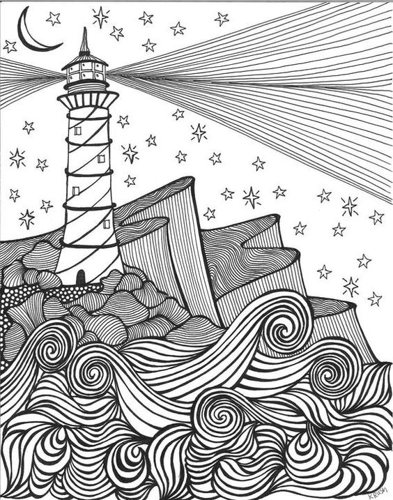 Lighthouse by the sea is an adult coloring page which is part of a series of ocean/beach theme pieces. Download today and add some color to this scene by the sea. 8x10 digital download