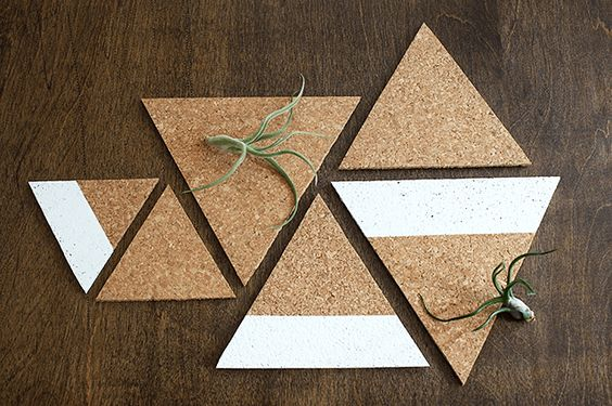 Whip up a set of these easy DIY triangle cork board trivets with modern color block design!:
