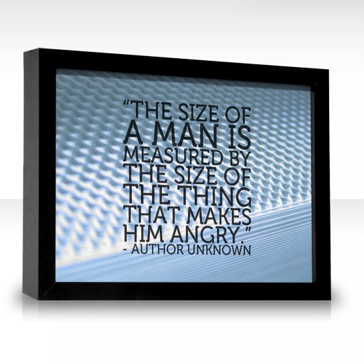 The size of a man is measured by the size of the thing that makes him angry.