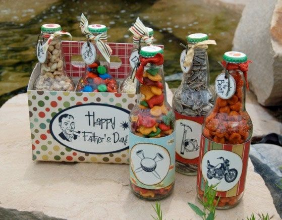 What a great way to package home-made treats and recycle soda bottles and carton at the same time! How about home-made spa oils/bath salts/scrub etc for Mom or a friend? (pinned from) This is very cute fathers day gift idea. Other events ideas could be used for this. (Robin): Guy Gift, Daddy, Fun Gift, Diy Gift, Party Idea, Fathersday, Homemade Gift