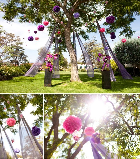 You might remember Cori and Thomas from last summer. Between the suspended  centerpieces and the flowing fabric backdrop, their wedding is a hard one  to forget. So it's quite a joy to have them featured in this summer's  national issue of The Knot!  Some of our favorite elements…  The picturesque ceremony site – a giant eucalyptus tree in which we hung  brightly colored pom poms, delicate glass orbs filled with orchids, and  hundreds of feet of flowing chiffon fabric.  The theme was…