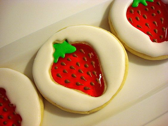 Strawberry stained glass cookies by WackyCookies