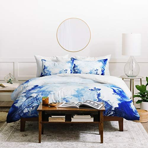 Marble Watercolor Duvet Cover Set Twin Xl Size Blue White Abstract Paint Marks Print 2 Piece Bed Sets Modern Chic Bedrooms Watercolor Duvet Chic Bedroom