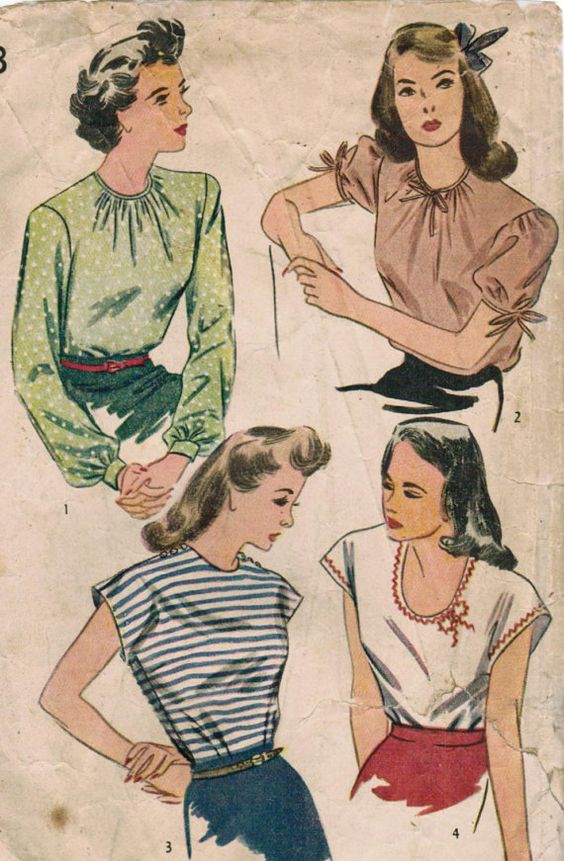 1940s Simplicity 1093 Vintage Sewing Pattern Misses' Blouse Size 14 Bust 32