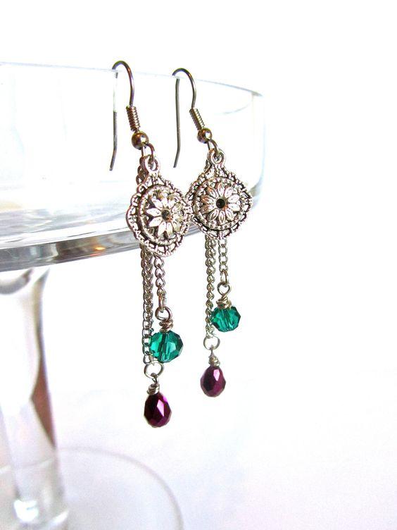 Peacock Charm Earrings, Bohemian, Dangle. $14.00, via Etsy.